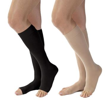 Picture of Jobst Opaque Medical LegWear - Women's Petite Knee High 15-20mmHg Compression Stockings (Open Toe)