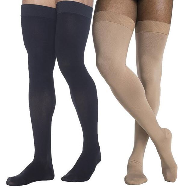Picture of Sigvaris Dynaven Medical Legwear - Men's Thigh High 20-30mmHg Compression Support Stockings (with Grip Top)