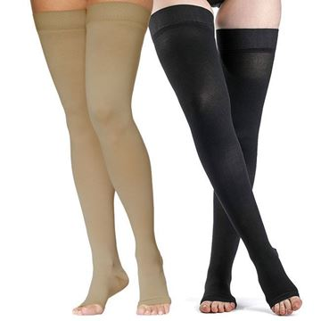 Picture of Sigvaris Dynaven Medical Legwear - Thigh High 30-40mmHg Compression Support Stockings (Open Toe - Grip Top)