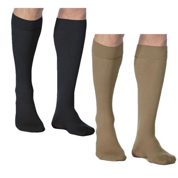 Picture of Sigvaris Microfiber - Men's Calf 20-30mmHg Compression Support Socks (Grip Top)