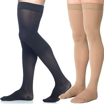 Picture of Sigvaris Microfiber - Men's Thigh High 30-40mmHg Compression Support Stockings