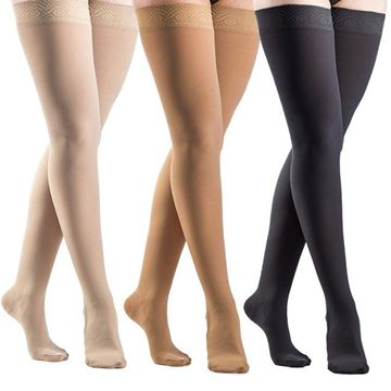 Picture of Sigvaris Opaque - Women's Thigh High 20-30mmHg Compression Support Stockings (Grip Top)