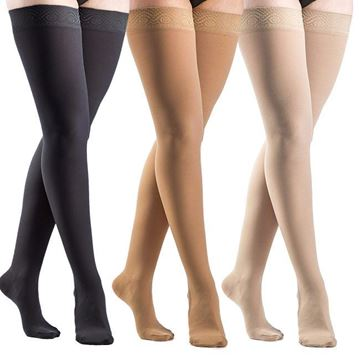 Picture of Sigvaris Opaque - Women's Thigh High 30-40mmHg Compression Support Stockings (Grip Top)